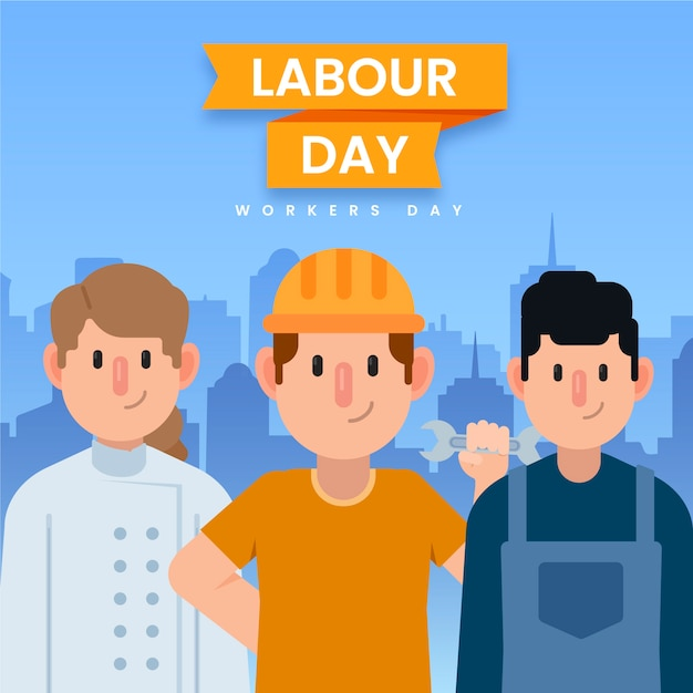 Płaska Konstrukcja Dzień Pracy Szczęśliwych Pracowników Darmowych Wektorów