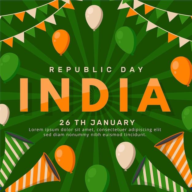 Płaska Konstrukcja Dzień Republiki Indyjskiej Darmowych Wektorów