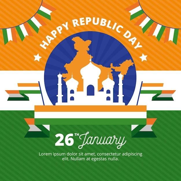 Płaska Konstrukcja Dzień Republiki Indyjskiej Premium Wektorów