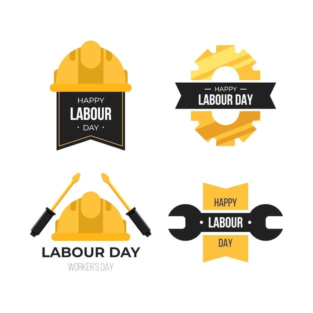 Płaska Konstrukcja Etykiety Na Dzień Pracy Darmowych Wektorów