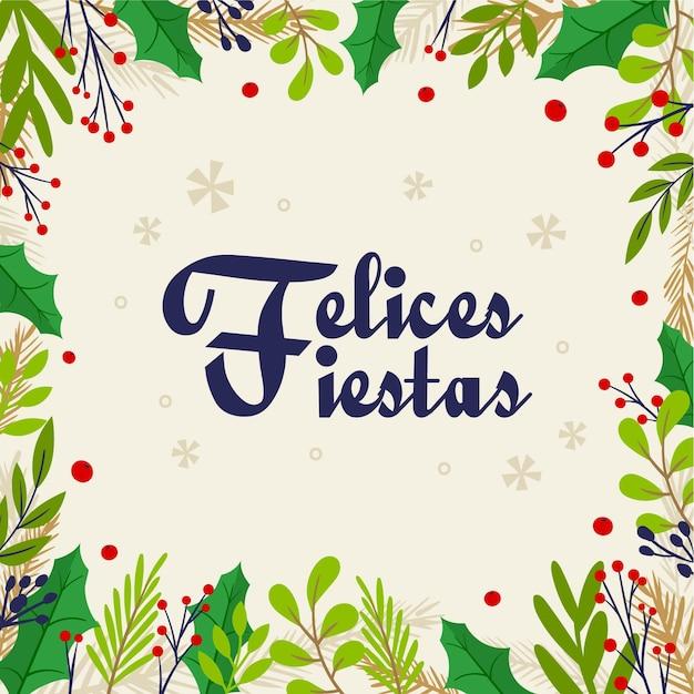 Płaska Konstrukcja Felices Fiestas Tło Z Gałęzi Drzew Darmowych Wektorów