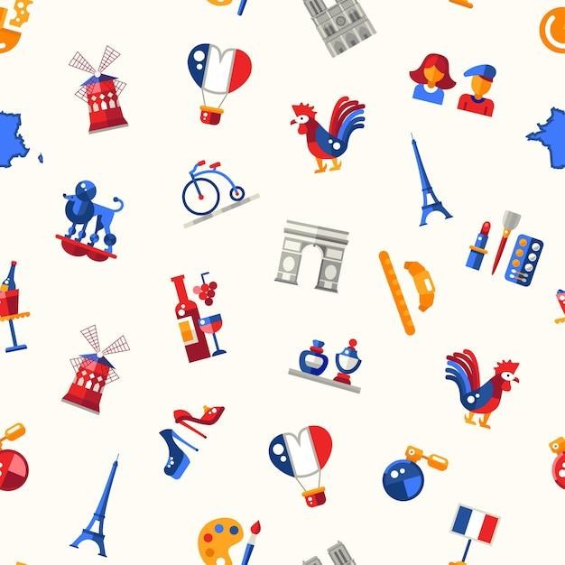 Płaska Konstrukcja Francja Podróży Wzór Z Ikonami I Elementami Infografiki Premium Wektorów