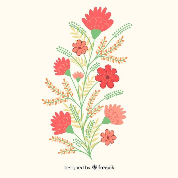 Płaska konstrukcja gałąź kwiatowa Darmowych Wektorów