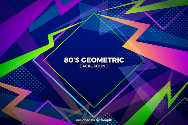 Płaska konstrukcja geometryczne tło lat 80-tych Darmowych Wektorów