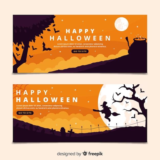 Płaska konstrukcja halloween banery szablon Darmowych Wektorów