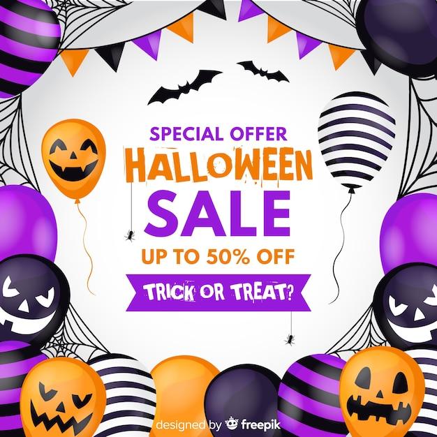 Płaska konstrukcja halloween sprzedaż tło z balonów Darmowych Wektorów