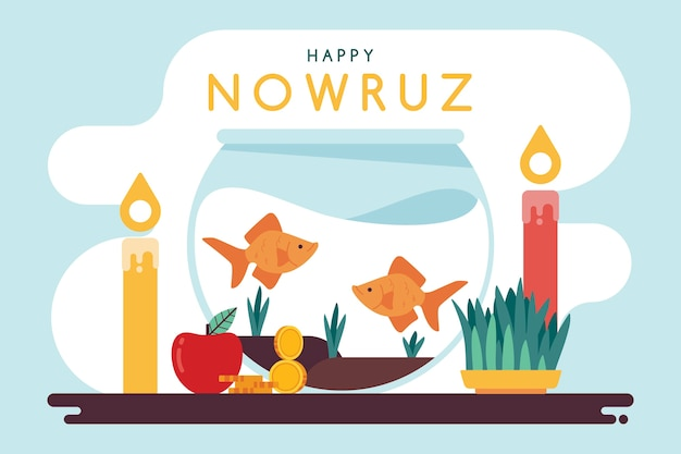 Płaska Konstrukcja Happy Nowruz Event Darmowych Wektorów