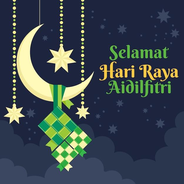 Płaska Konstrukcja Hari Raya Aidalfitri Biały Półksiężyc Darmowych Wektorów