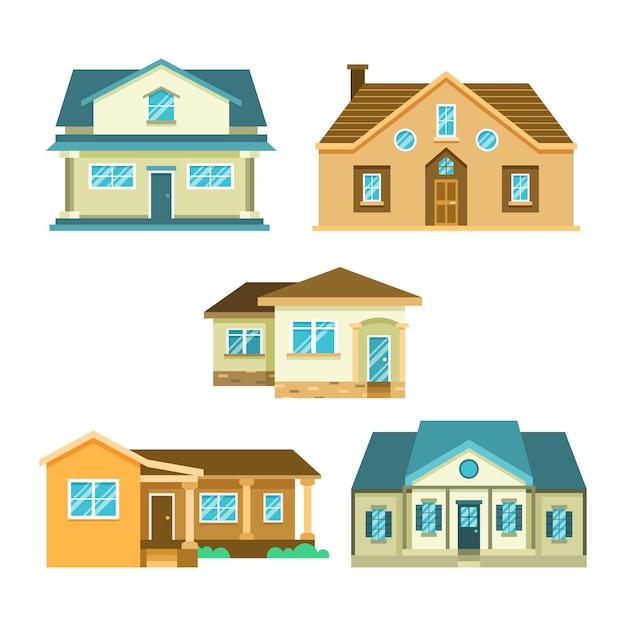 Płaska Konstrukcja Ilustracja Domy Opakowanie Darmowych Wektorów