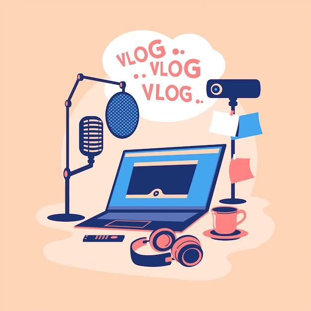 Płaska Konstrukcja Ilustracja Koncepcja Blogger Wideo. Twórz Treści Wideo I Zarabiaj Pieniądze. Sprzęt Wideo Blogera Premium Wektorów