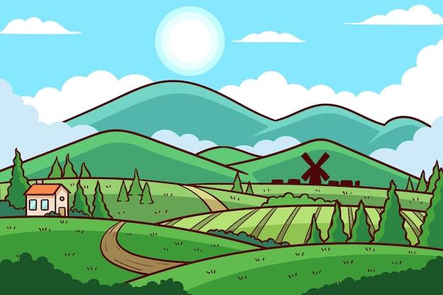 Płaska Konstrukcja Ilustracja Krajobraz Wsi Darmowych Wektorów