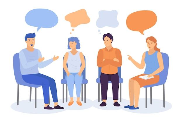 Płaska Konstrukcja Ilustracja Terapii Grupowej Darmowych Wektorów