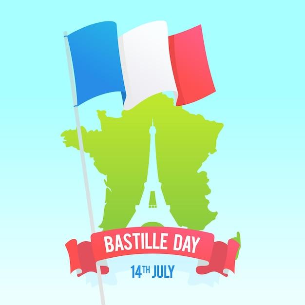 Płaska Konstrukcja Ilustracji Dzień Imprezy Bastille Darmowych Wektorów