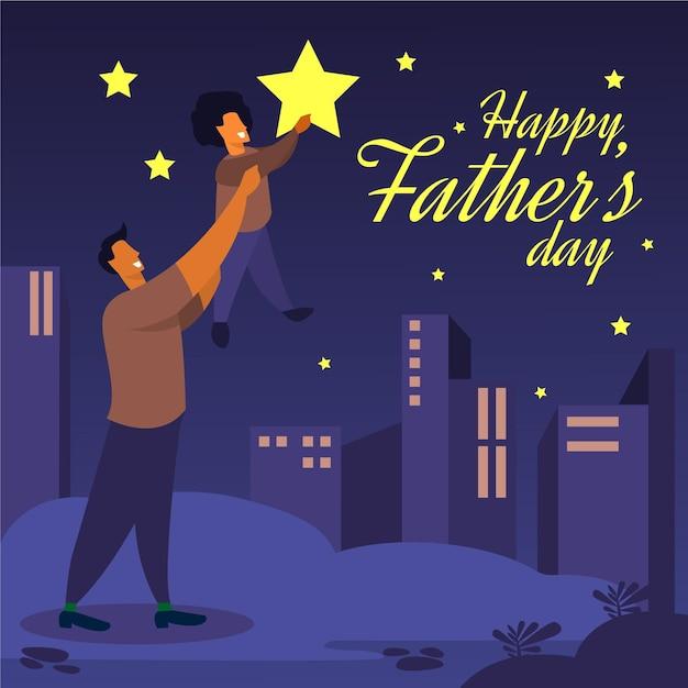 Płaska Konstrukcja Ilustruje Dzień Ojca Darmowych Wektorów