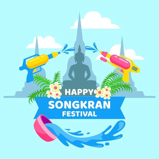 Płaska Konstrukcja Imprezy Songkran Darmowych Wektorów