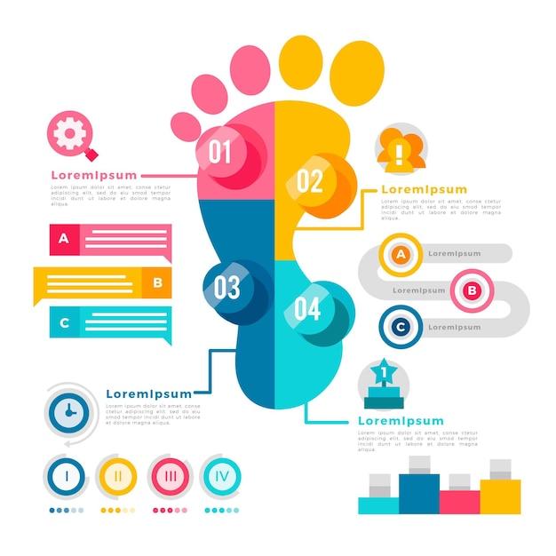 Płaska Konstrukcja Infografiki ślad Premium Wektorów
