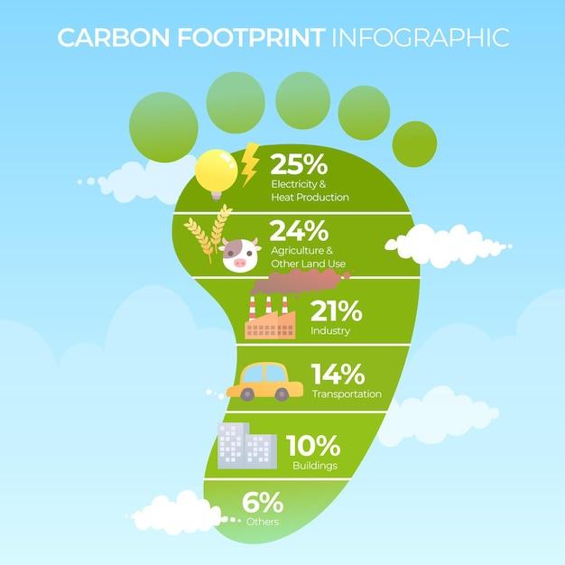 Płaska Konstrukcja Infografiki śladu Węglowego Premium Wektorów