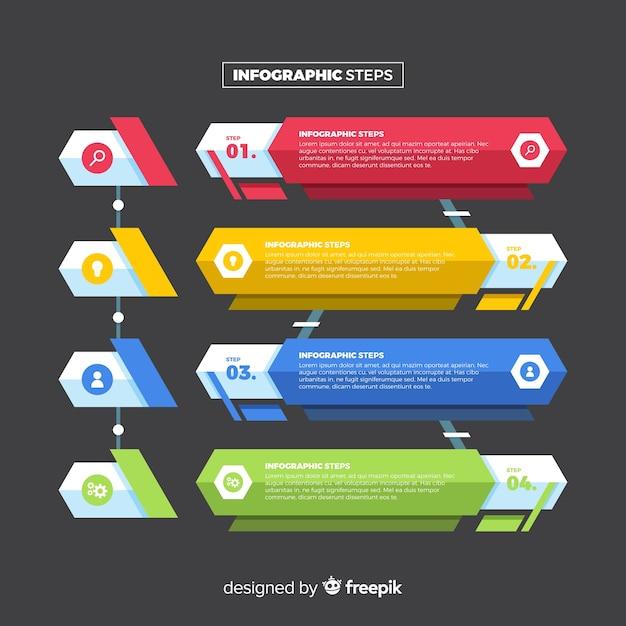 Płaska konstrukcja infographic kroki Darmowych Wektorów