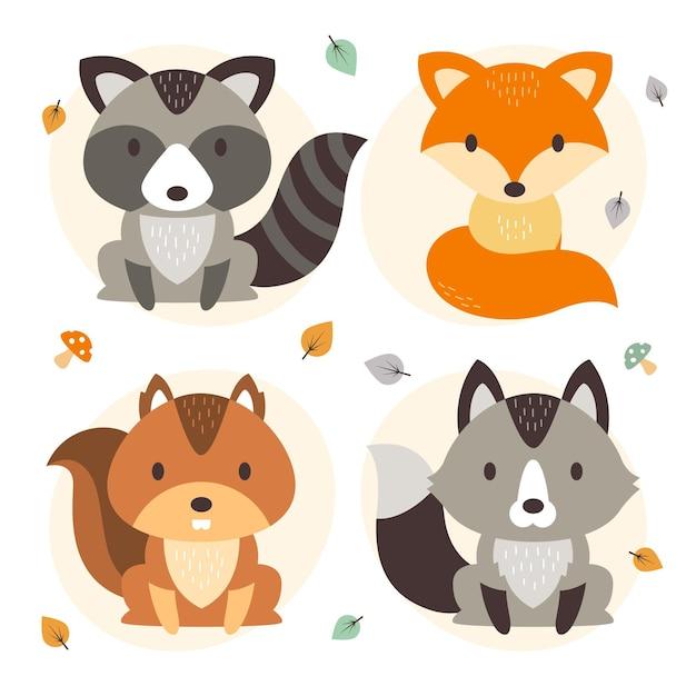 Płaska Konstrukcja Jesień Kolekcja Zwierząt Leśnych Darmowych Wektorów