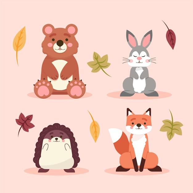 Płaska Konstrukcja Jesiennych Zwierząt Leśnych Darmowych Wektorów