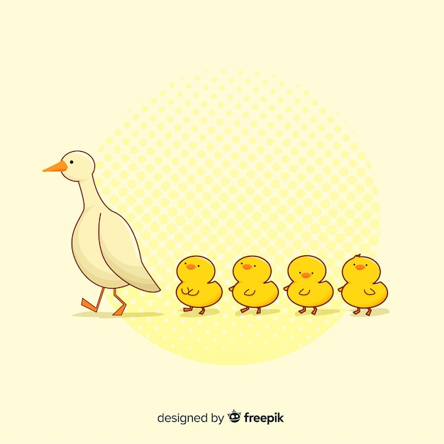 Płaska konstrukcja kaczka i kaczych matek Darmowych Wektorów