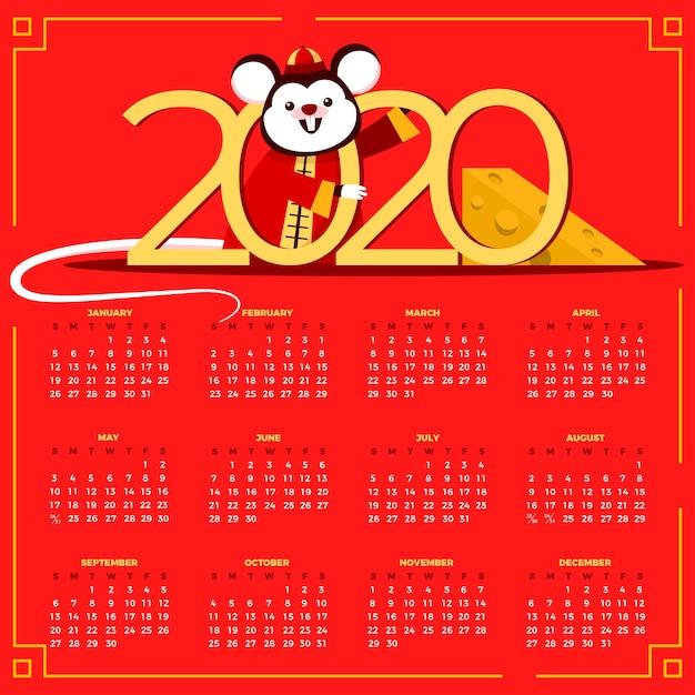 Płaska konstrukcja kalendarza chiński nowy rok Darmowych Wektorów