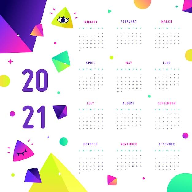 Płaska Konstrukcja Kalendarza Nowego Roku 2021 Premium Wektorów