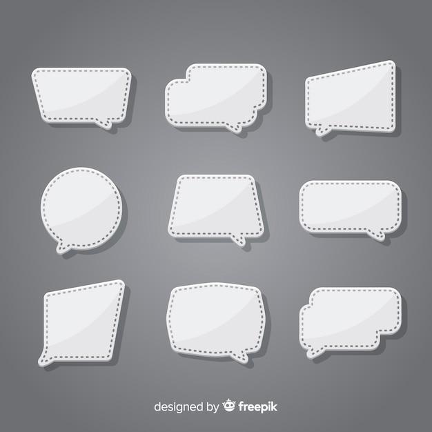 Płaska konstrukcja kolekcja dymek w stylu papieru Darmowych Wektorów