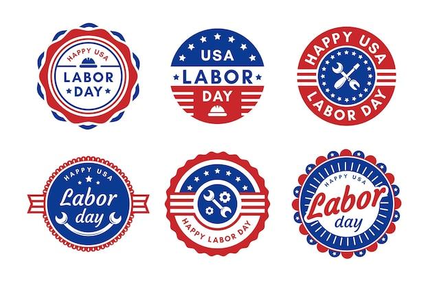 Płaska Konstrukcja Kolekcja Odznaka Dzień Pracy Usa Darmowych Wektorów