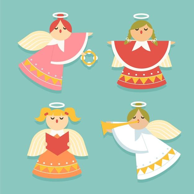 Płaska konstrukcja kolekcji anioła bożego narodzenia Darmowych Wektorów
