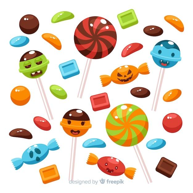 Płaska Konstrukcja Kolekcji Cukierków Halloween Darmowych Wektorów