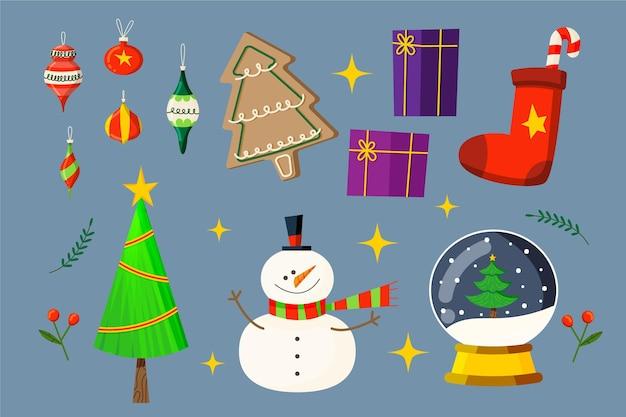 Płaska Konstrukcja Kolekcji Elementów świątecznych Darmowych Wektorów