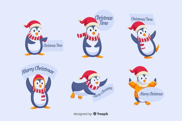 Płaska konstrukcja kolekcji etykiet pingwina bożego narodzenia Darmowych Wektorów