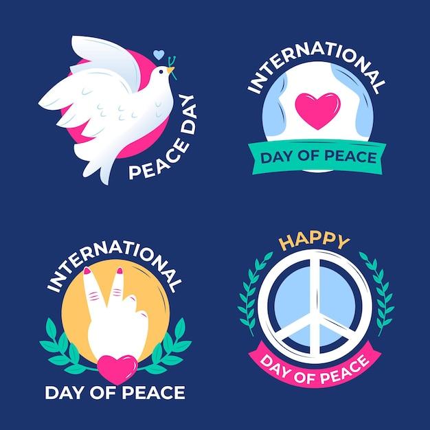 Płaska Konstrukcja Kolekcji Odznak Międzynarodowego Dnia Pokoju Darmowych Wektorów