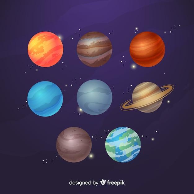 Płaska konstrukcja kolekcji planet mlecznej Darmowych Wektorów