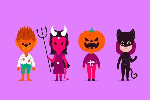 Płaska Konstrukcja Kolekcji Postaci Halloween Darmowych Wektorów