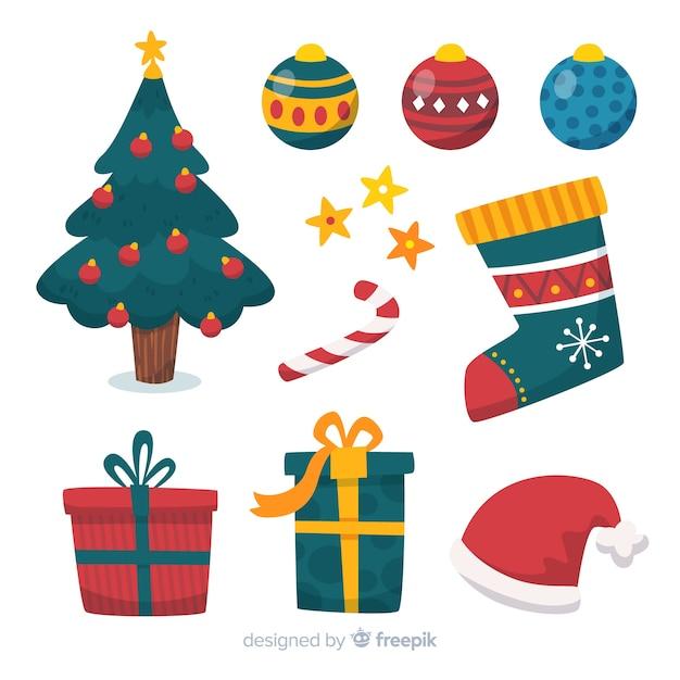 Płaska konstrukcja kolekcji świątecznych elementów Darmowych Wektorów
