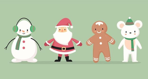 Płaska Konstrukcja Kolekcji świątecznych Znaków Darmowych Wektorów