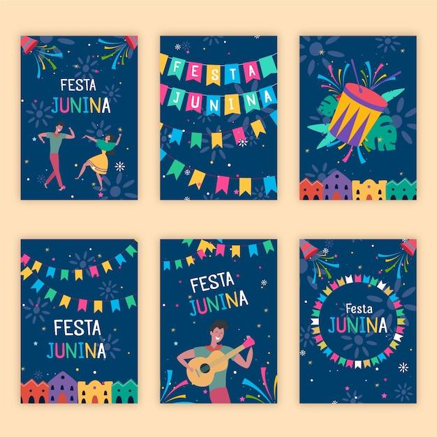 Płaska Konstrukcja Kolekcji Szablonu Karty Festa Junina Darmowych Wektorów