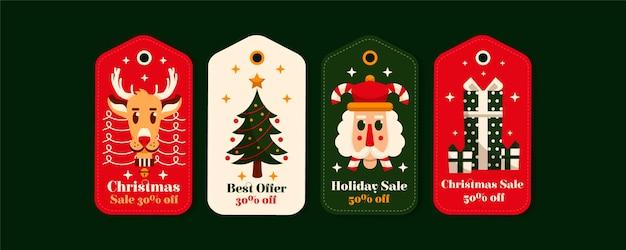 Płaska Konstrukcja Kolekcji Tagów świątecznej Sprzedaży Darmowych Wektorów