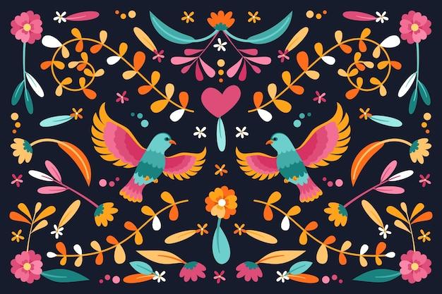Płaska Konstrukcja Kolorowe Meksykańskie Tapety Koncepcja Darmowych Wektorów