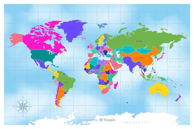Płaska konstrukcja kolorowe polityczna mapa świata Darmowych Wektorów