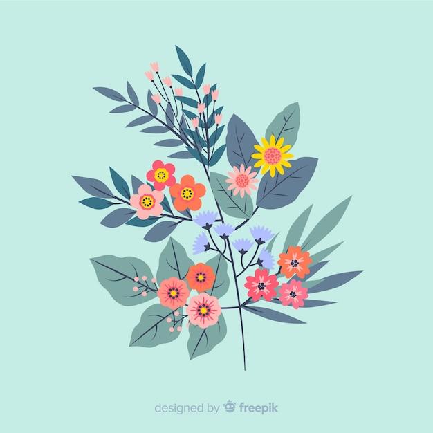 Płaska konstrukcja kolorowy kwiatowy oddział Darmowych Wektorów