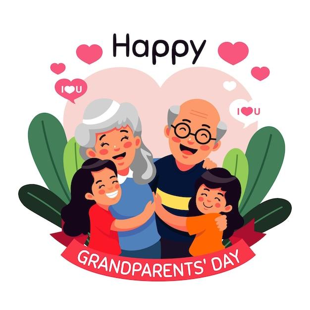 Płaska Konstrukcja Koncepcja Dzień Dziadków Narodowych Darmowych Wektorów