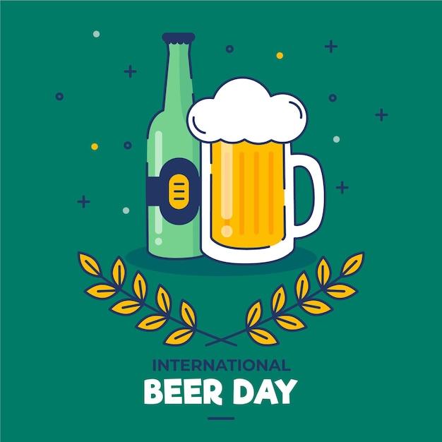 Płaska Konstrukcja Koncepcja Dzień Międzynarodowego Piwa Darmowych Wektorów