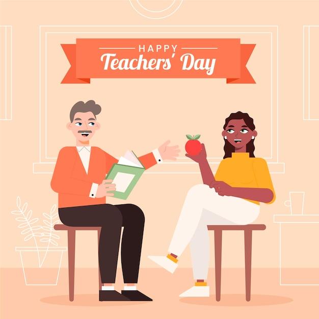 Płaska Konstrukcja Koncepcja Dzień Nauczyciela Darmowych Wektorów