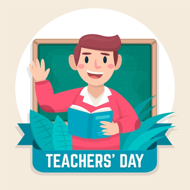 Płaska Konstrukcja Koncepcja Dzień Nauczyciela Premium Wektorów