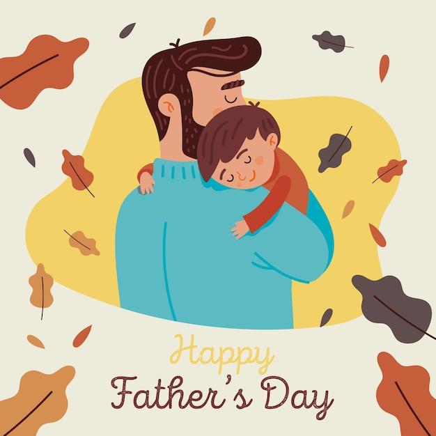 Płaska Konstrukcja Koncepcja Dzień Ojców Darmowych Wektorów