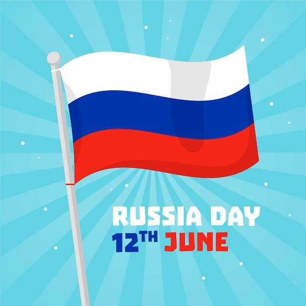 Płaska Konstrukcja Koncepcja Dzień Rosji Darmowych Wektorów