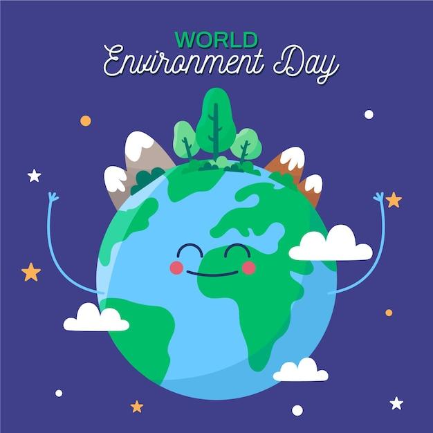 Płaska Konstrukcja Koncepcja Dzień środowiska świata Premium Wektorów